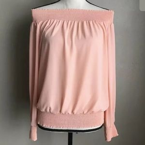 Thalia Sodi Smocked Off The Shoulder top Pink Sz M
